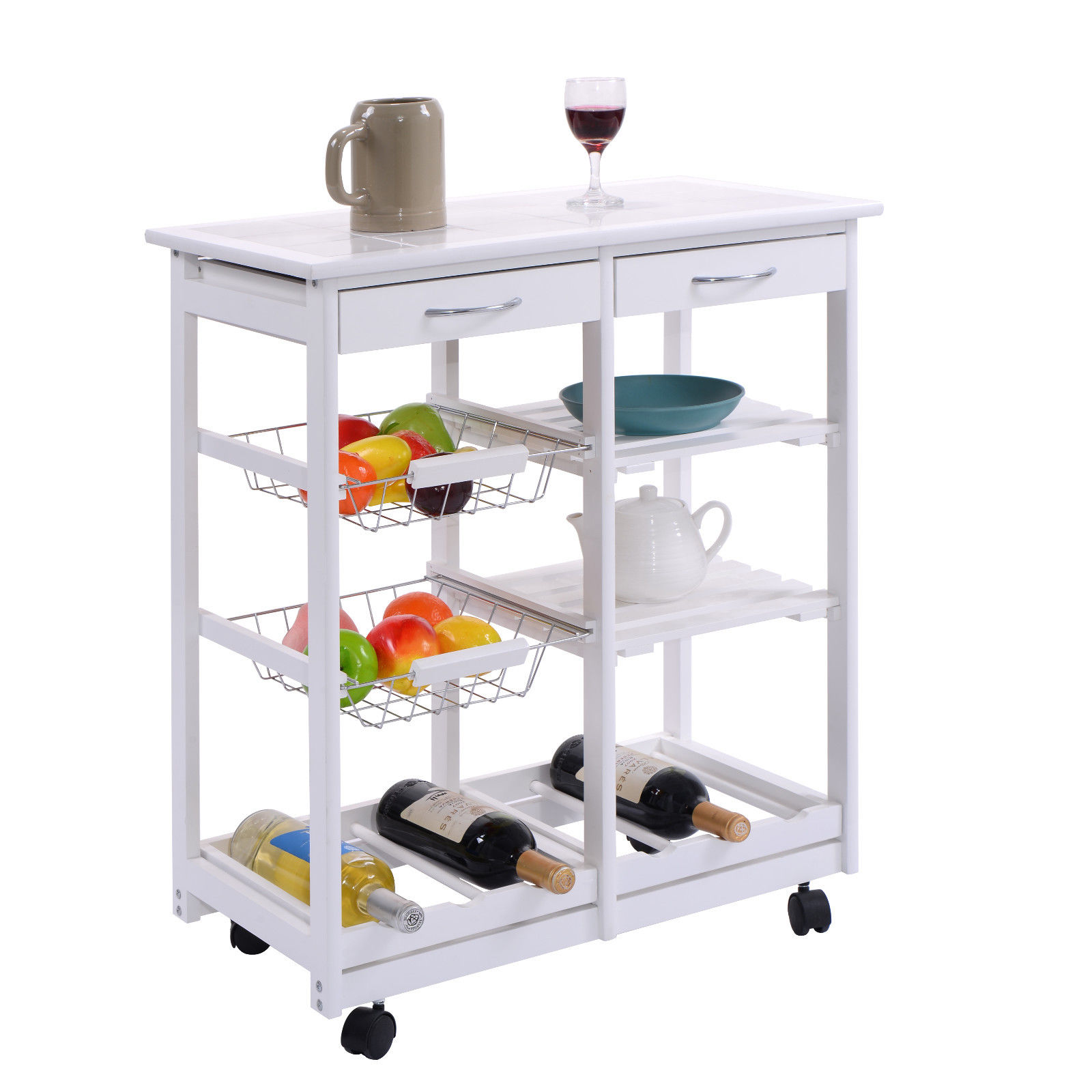 Costway Rolling Wood Kitchen Trolley Cart Dining Storage Drawers Stand Durable