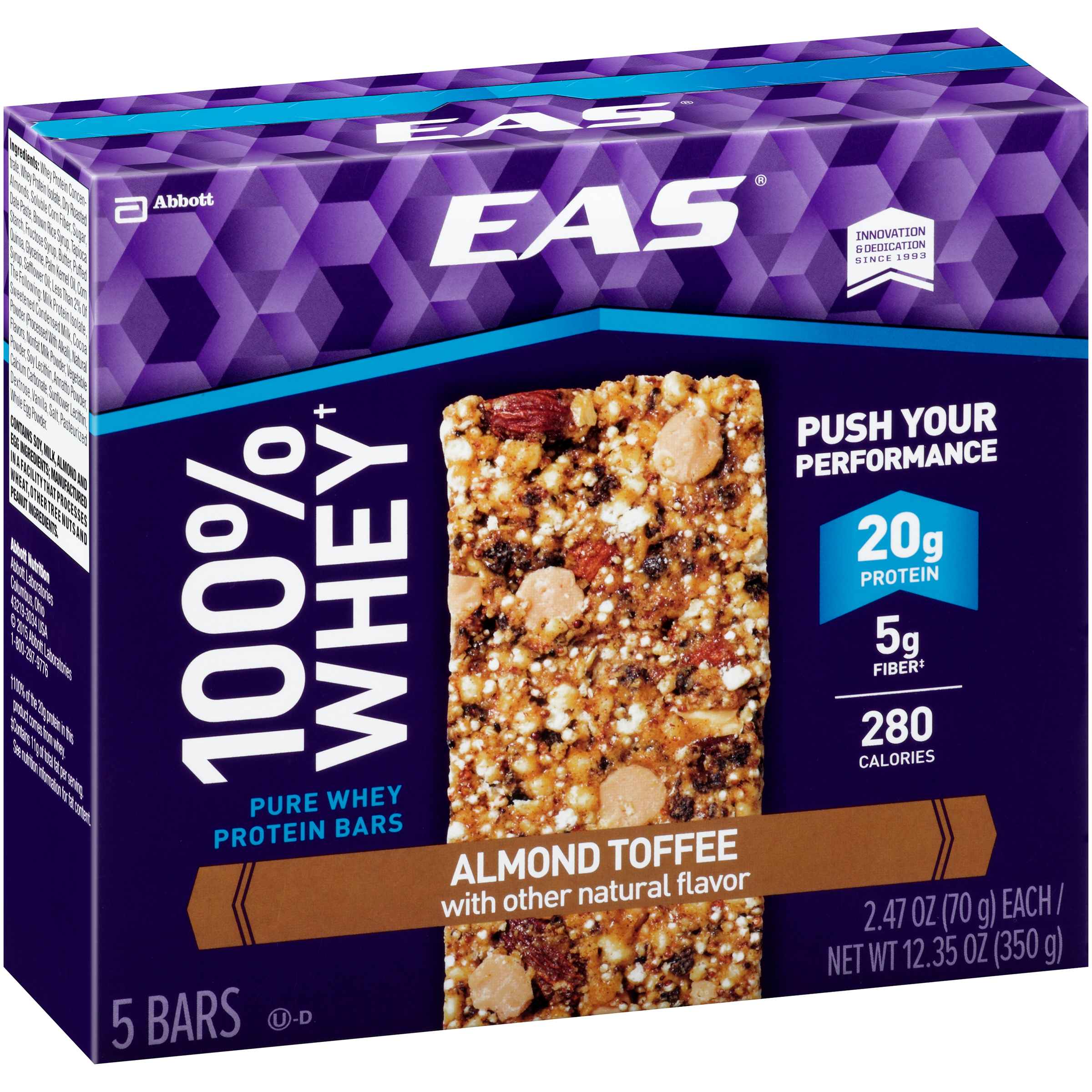 EAS 100% Whey Protein Almond Toffee Bars 5-2.47 oz. Box by Abbott NutritionAbbott Laboratories