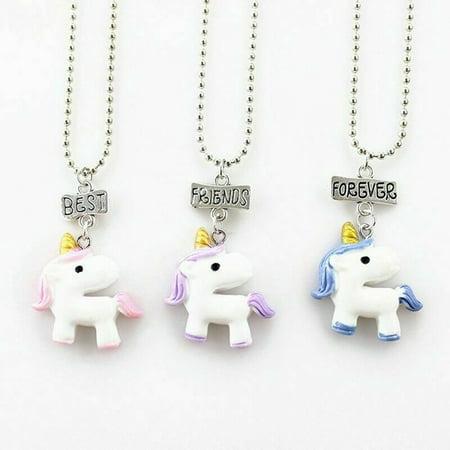 KABOER 3 Pcs/ Set Resin Unicorn Necklace Best Friend Forever Girls Kids Gifts