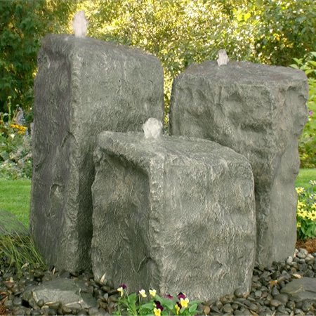 LiquidArt Fountains Glass Fiber Reinforced Concrete Rock Watershed Triple Pondless Fountain Kit