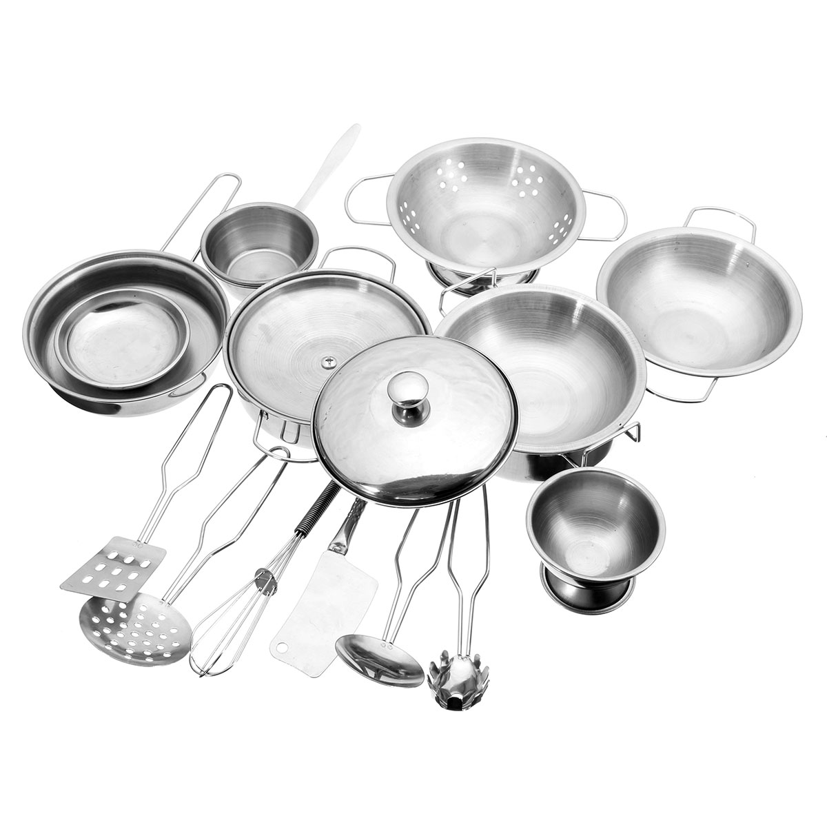 16Pcs Stainless Steel Kitchen Cookware Kitchen Cooking Set 16Pcs Pots & Pans Toy For Children Play House Toys