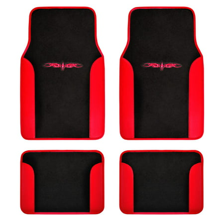 BDK Design Car Floor Mats 4 Pieces - Carpet with Unique Design, Universal Fit - Front & Rear Full Set