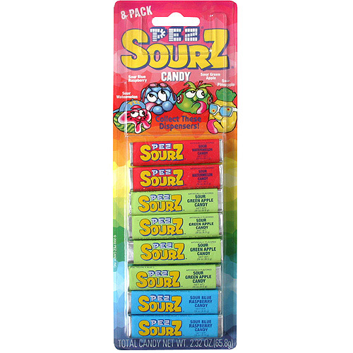 Pez Sourz Refill Candy, 2.32 oz, 8ct,  (Pack of 24)