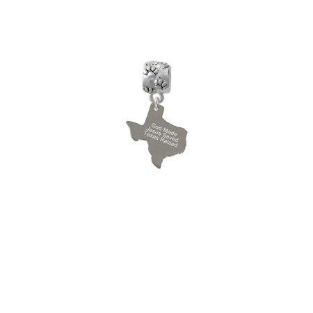 Texas Star Charm - Stainless Steel Texas Raised Texas - Paw Print Charm Bead