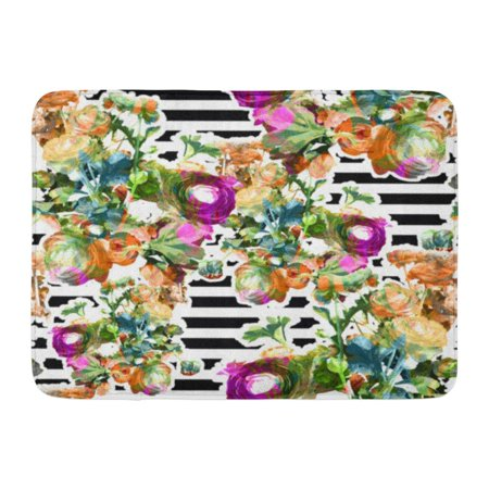 GODPOK Purple Flower Colorful Floral Rose Pattern with Stripe Pink Abstract Red Beautiful Rug Doormat Bath Mat 23.6x15.7 inch