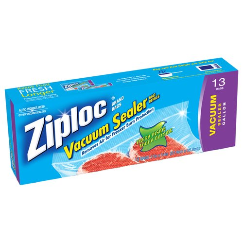 Ziploc Vacuum Seal Food Storage Bags, Gallon, 13 Ct