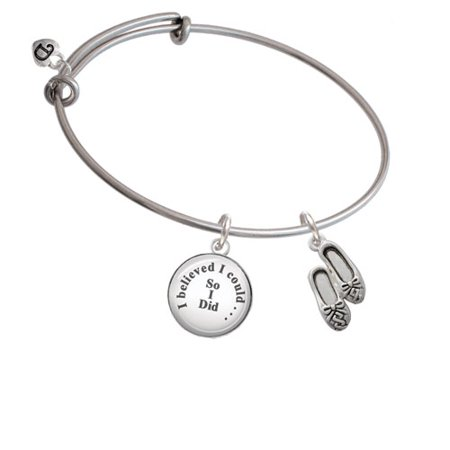 Ballet Slippers - I Believed I Could So I Did Glass Dome Bangle Bracelet - Glass Slippers Are So Back