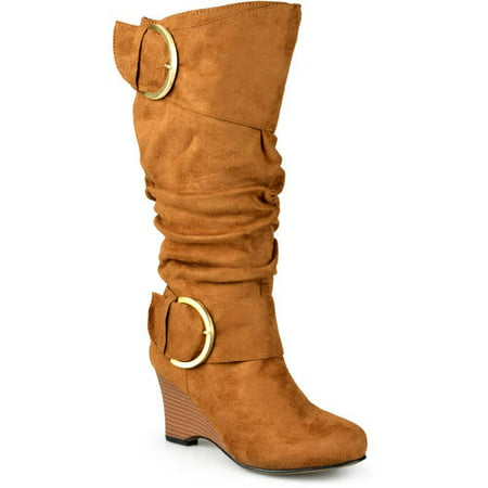 Womens Extra Wide-Calf Slouch Buckle Wedge Knee-High Boot