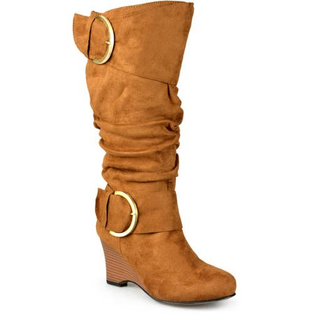 Womens Extra Wide-Calf Slouch Buckle Wedge Knee-High Boot ()