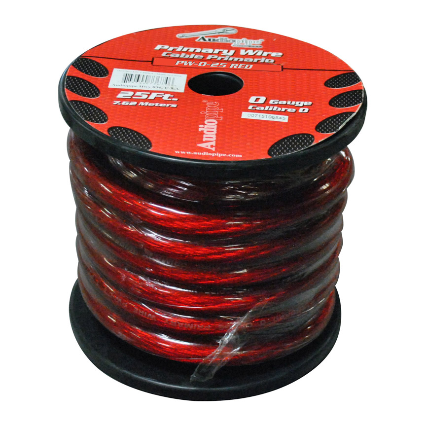 nippon Audiopipe Pw025bk Oxygen Free Ground Cable Black 0 Ga 25' Spool 0 Gauge