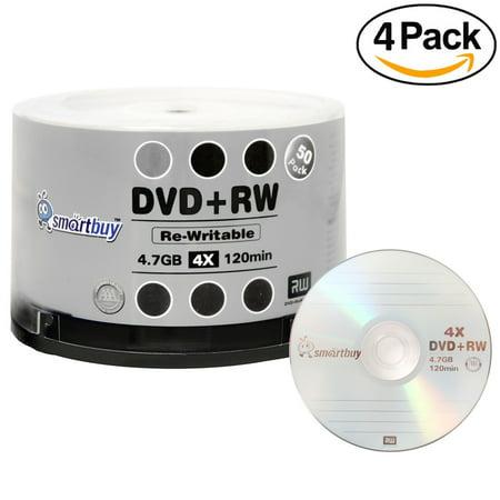 200 Pack Smartbuy Blank DVD+RW 4x 4.7GB 120Min Branded Logo Rewritable DVD Media (Blank Rewritable Card)