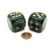 Chessex Scarab 30mm Large D6 Dice, 2 Pieces - Jade with Gold Numbers #DC3005