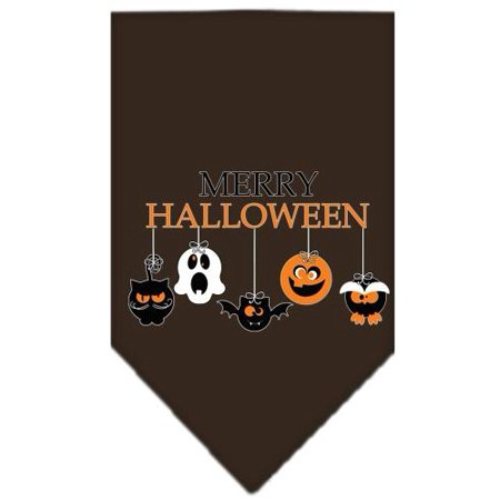 Merry Halloween Screen Print Bandana Brown Large - Merry Halloween