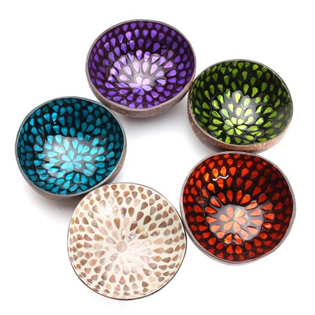 Moaere Colorful Peacock Coconut Shell Bowl Dishes Mosaic Handmade Pot Paint Craft Art Decor