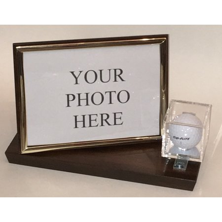 Photo Display Case - Golf Ball and 5x7 Photo Personalized Horizontal Desktop Display Case - Cherry Finish Wood Base and Gold Frame