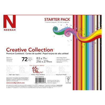 """Neenah® Creative Collection™ Specialty Cardstock Starter Kit, 8.5"""" x 11"""", 65lb, 18-Color Assortment, 72 Sheets"""