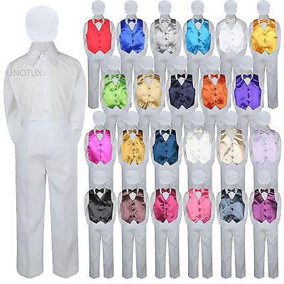 23 Color 5 pc Set Vest Bow Tie Boys Baby Toddler Formal Suit White Hat Pants S-7 (White Tailored Suit)