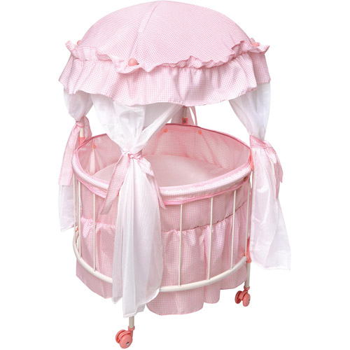 """Badger Basket Royal Pavilion Doll Crib with Canopy and Bedding, Fits Most 18"""" Dolls & My Life As"""