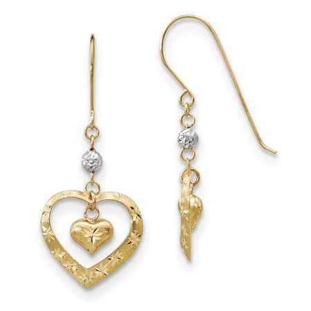 Gold Tone Frosted Metal (14k Two Tone Yellow Gold Heart Drop Dangle Chandelier Shepherd Hook Earrings Love )