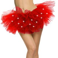 Women's Classic 5 Layered LED Light Up Tutu Skirt Party Costume, Red