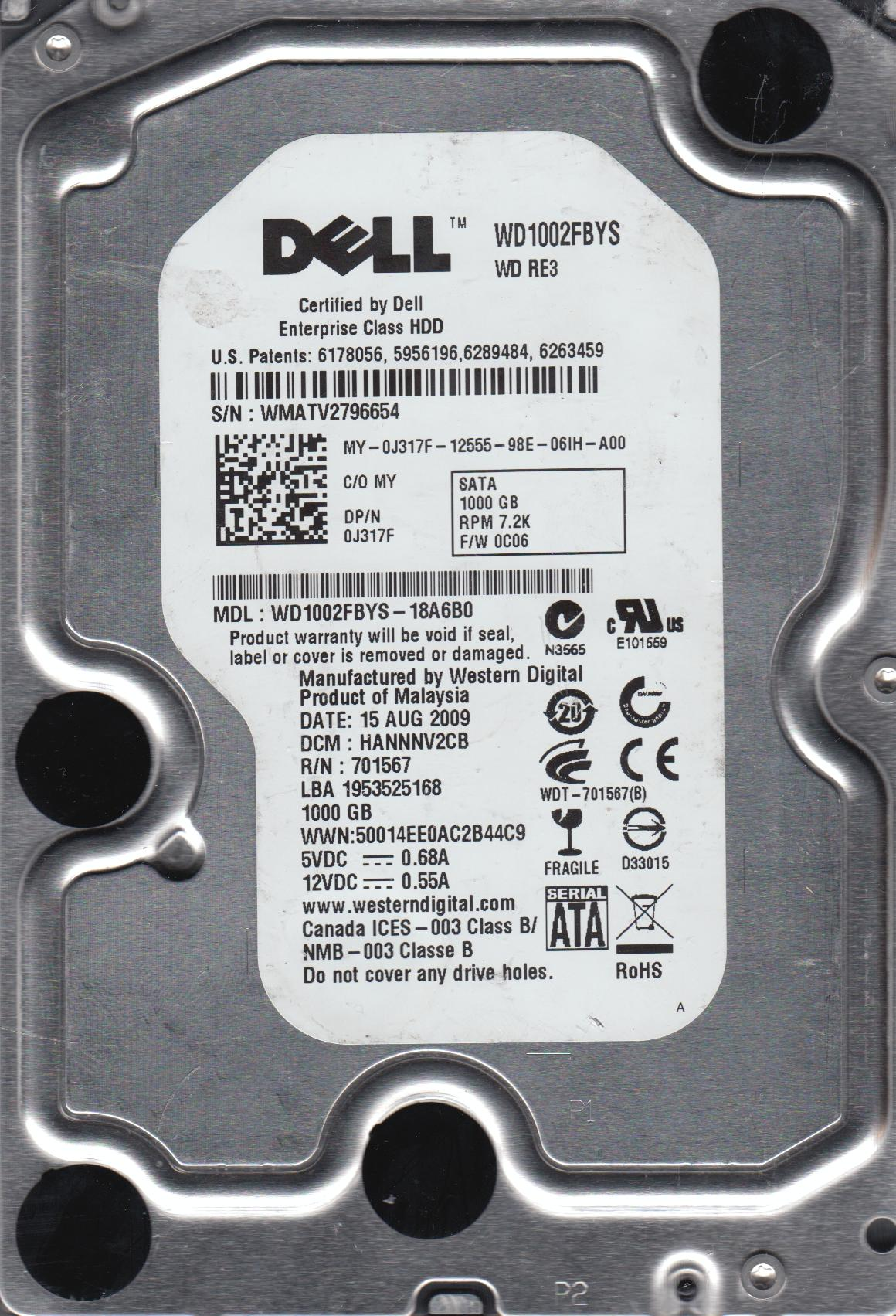 WD1002FBYS-18A6B0, DCM HANNNV2CB, Western Digital 1TB SATA 3.5 Hard Drive by Western Digital