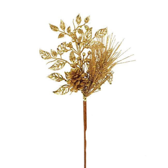 "Vickerman 555569 - 10"" Antique Gold Pinecone Glitter Leaf Pick (12 pack) (L185830)"