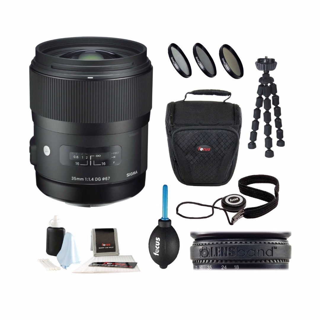 Sigma 35mm f/1.4 DG HSM Lens for Nikon DSLR Cameras with 32GB Deluxe Accessory Kit
