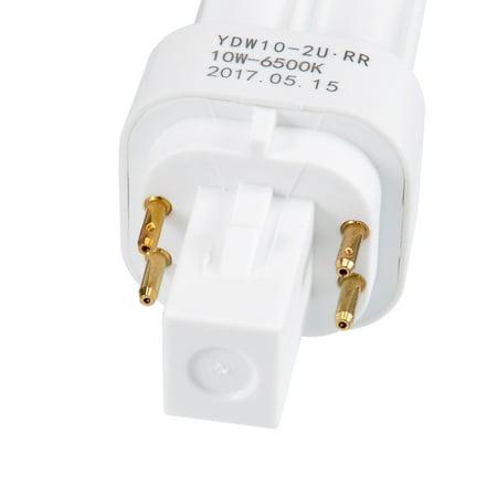AC 220V 10W Double U Tube PL-C Lamp 4-Terminal G24 Base 6500K Cool White - image 1 of 4