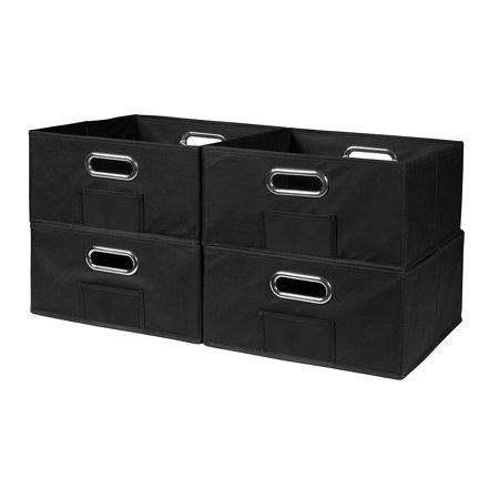 Cubo Half-Size Foldable Fabric Storage Bins (Set of 4), Black, Strong and durable- each bin has a reinforced bottom panel for extra stability. They.., By Niche