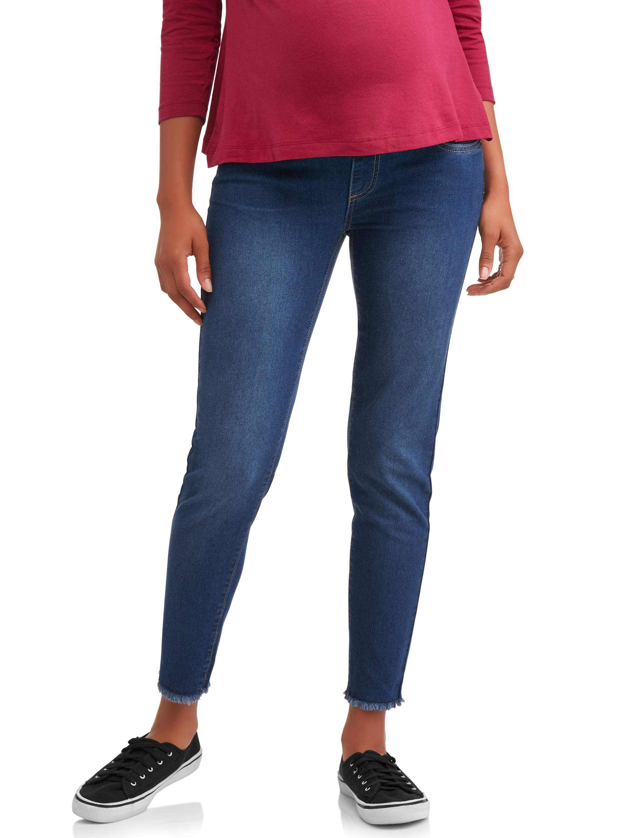 Maternity Under Belly Frayed Hem Skinny Jeans - Available in Plus Sizes