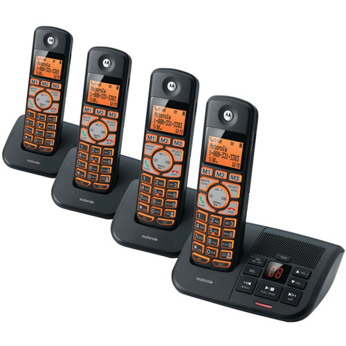 Motorola K704b DECT 6.0 Cordless Phone System with Caller ID and Answering System, 4-Handset System