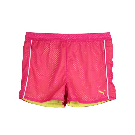 PUMA Little Girls Mesh Athletic Exercise Gym Shorts Pink Yellow White Size 6 ()
