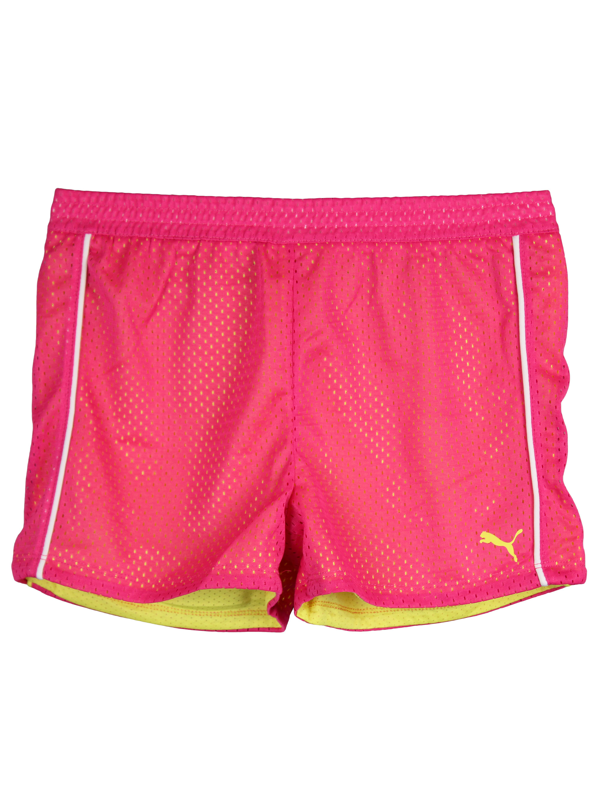 PUMA Little Girls Mesh Athletic Exercise Gym Shorts Pink Yellow White Size 6