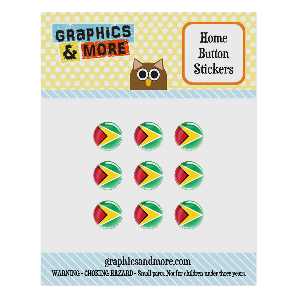 Guyana National Country Flag Home Button Stickers Set Fit Apple iPhone iPad iPod Touch