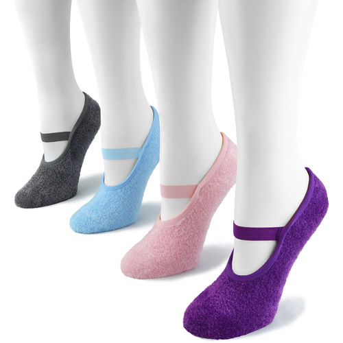 MUK LUKS Women's 4 Pair Pack Buttercreme Maryjane with Aloe