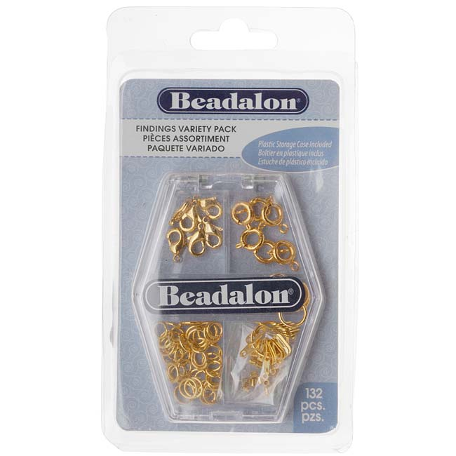 Beadalon Gold Plated Findings Variety Pack - Rings, Clasps, Tags, Crimps (132)