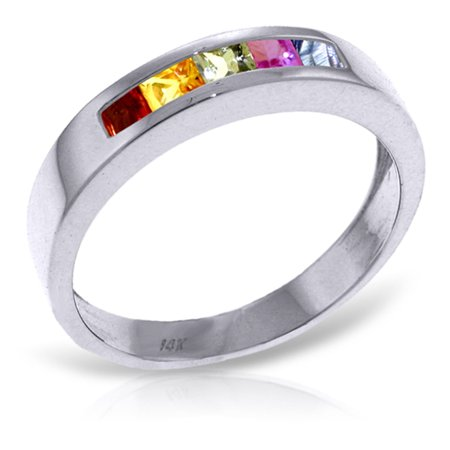 ALARRI 0.6 CTW 14K Solid White Gold Keep You Mine Multicolor Sapphire Ring With Ring Size 10.5. ()