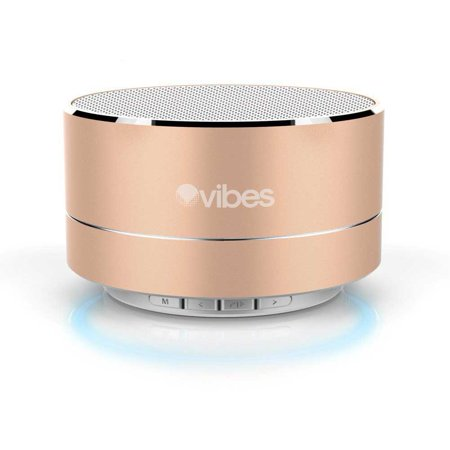 - Vibes TAB - Metallic Portable Bluetooth Mini Wireless Speaker - IPX4 rated Water Resistant - HD voice ready - Light weight - Suspension Lighting Effect (Gold)