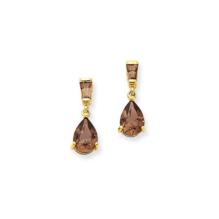 - 14k Yellow Gold Smoky Quartz Post Stud Earrings Drop Dangle Fine Jewelry For Women Gift Set