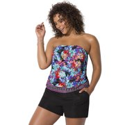 Swimsuits For All Women's Plus Size Bandeau Blouson Tankini Set with Cargo Short