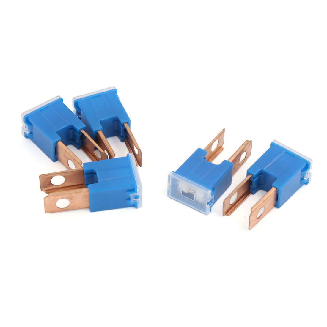 Unviersal Car Plug-in Two Straight Blade Male PAL Block Fuse Blue 100A 32V 5 Pcs