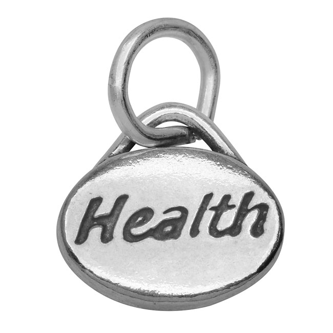 Sterling Silver Message Charm, 'Health' 11x8mm, 1 Piece, Antiqued Silver