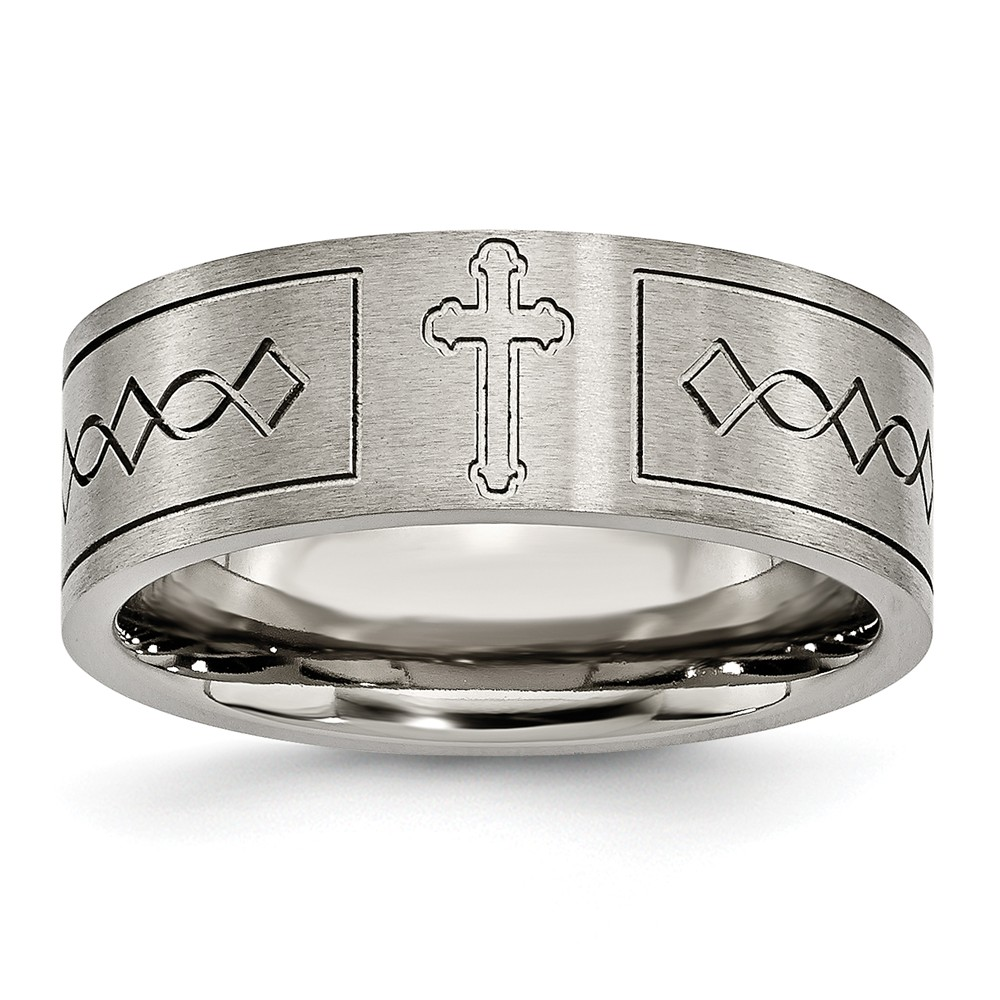 IceCarats Titanium Cross Religious Design Flat 8mm Brushed Wedding Ring Band Size 12.50  Designed  Fashion Jewelry Gift Set For Women Heart
