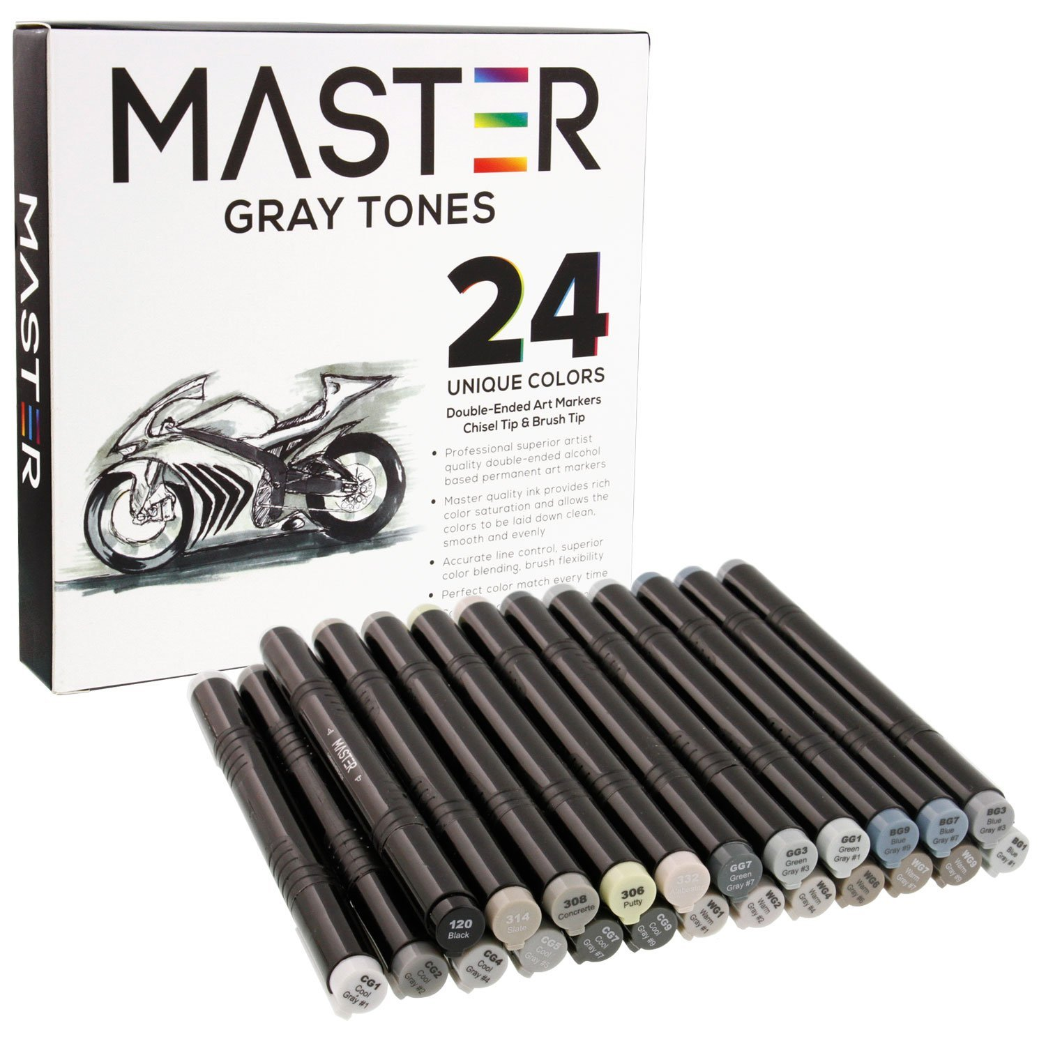 24 Color Master Markers Gray Tones Dual Tip Set Double-Ended Grayscale Art Markers with Chisel Point and Standard Brush