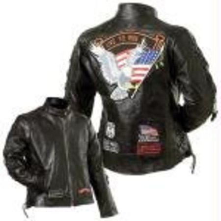 Diamond Plate Women's Leather Biker Jacket w/Live to ride patch (Best Leather Riding Jacket)