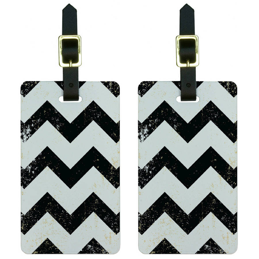 Vintage Chevrons Black Luggage Tags Suitcase Carry-On ID, Set of 2