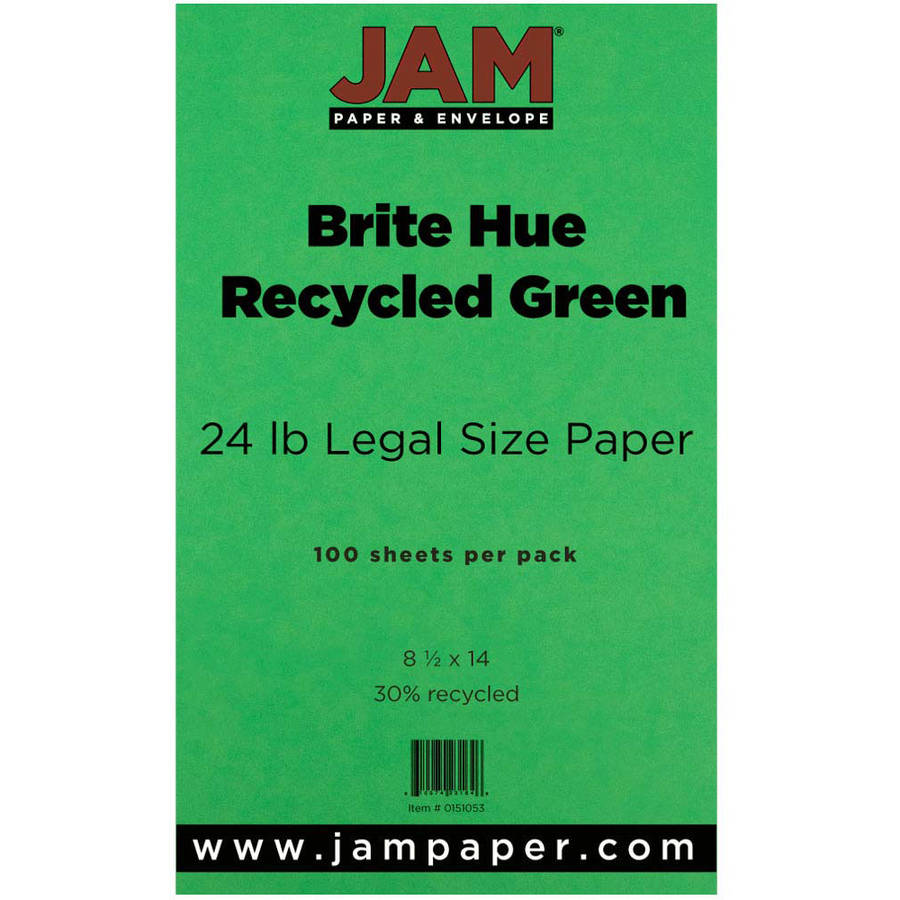 "JAM Paper 8.5"" x 14"" Legal-Sized Recycled 24 lb Paper, Green, 100pk"