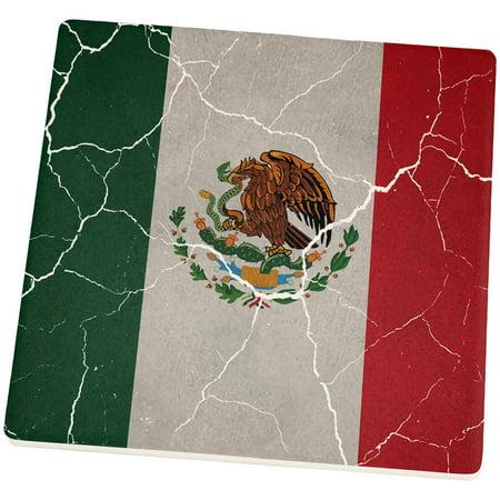 Cinco De Mayo Distressed Mexican Flag Set of 4 Square Sandstone Coasters - Cinco De Mayo Items