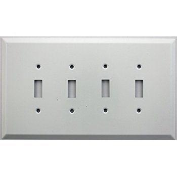 Over Sized Jumbo Smooth White Stamped Steel Four Gang Wall Plate - Four Toggle (4 Stamp Plate)