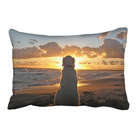 WinHome Decorative Golden Retriever In The Sunset Pillowcases Custom Pillow Case Cushion Cover Size 20x30 inches Two Side